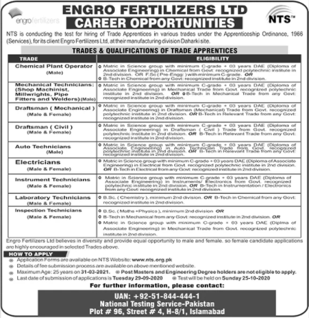 Engro Fertilizers Limited Jobs 2020 Through NTS