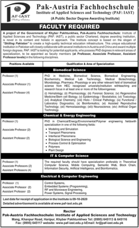 PAF Institute of Applied Science & Technology Job in Haripur