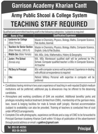 Garrison Academy Jobs 2020 For Teaching Staff in Kharian