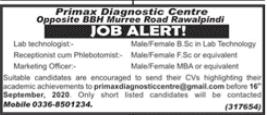 Primax Diagnostic Centre Jobs 2020
