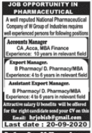 National Pharmaceutical Company Jobs 2020