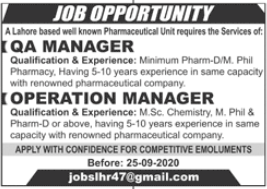 Operation Manager and QA Manager Jobs 2020