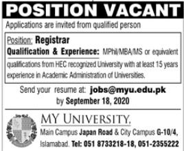 MY University Jobs 2020 in Islamabad