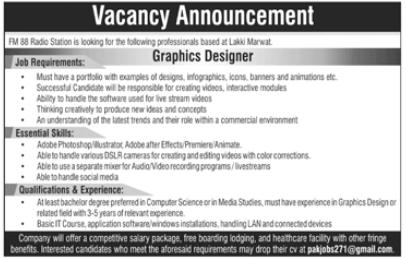 Graphic Designer Jobs 2020 in Lakki Marwat