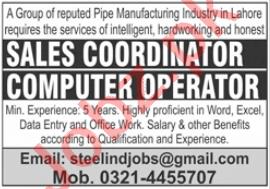 Sales Coordinator & Computer Operator Jobs 2020