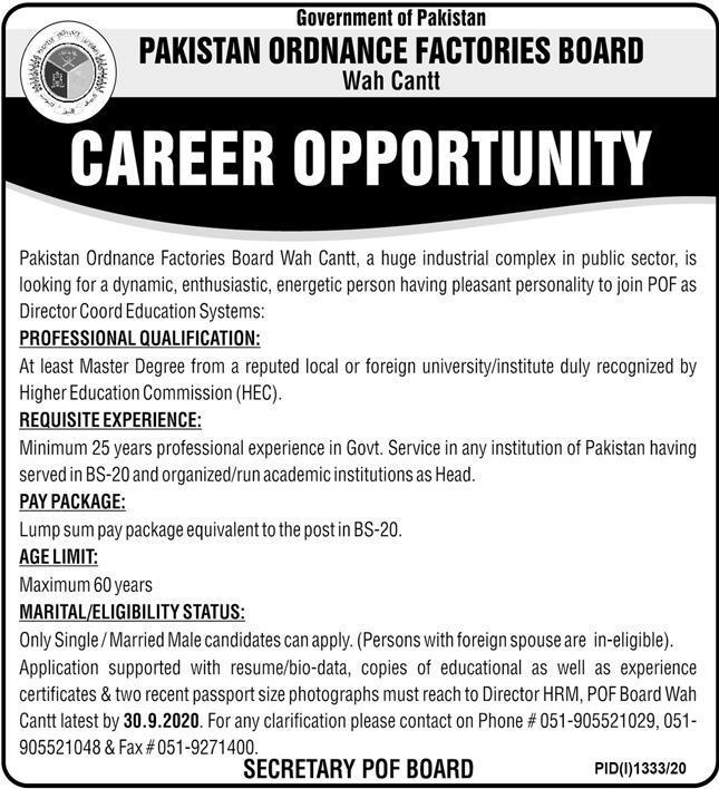Pakistan Ordnance Factories Board Wah Cantt Job 2020