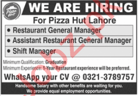 Pizza Hut Lahore Jobs 2020 Restaurant General Manager