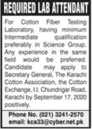 Cotton Fiber Testing Laboratory Job 2020 in Karachi