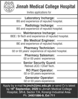 Jinnah Medical College Hospital Jobs 2020 in Karachi