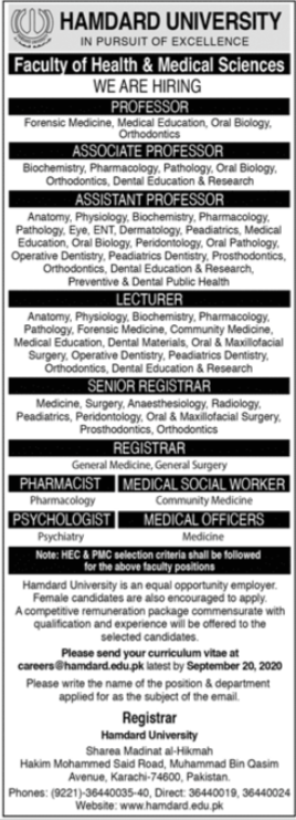 Hamdard University Jobs 2020 For Medical Faculty in Karachi