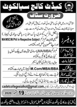 Cadet College Jobs 2020 in Sialkot