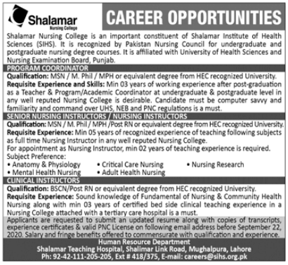 Shalamar Nursing College Lahore Jobs 2020