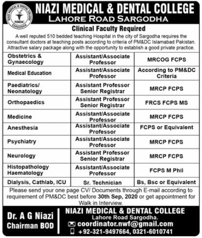 Niazi Medical & Dental College Jobs 2020 in Sargodha