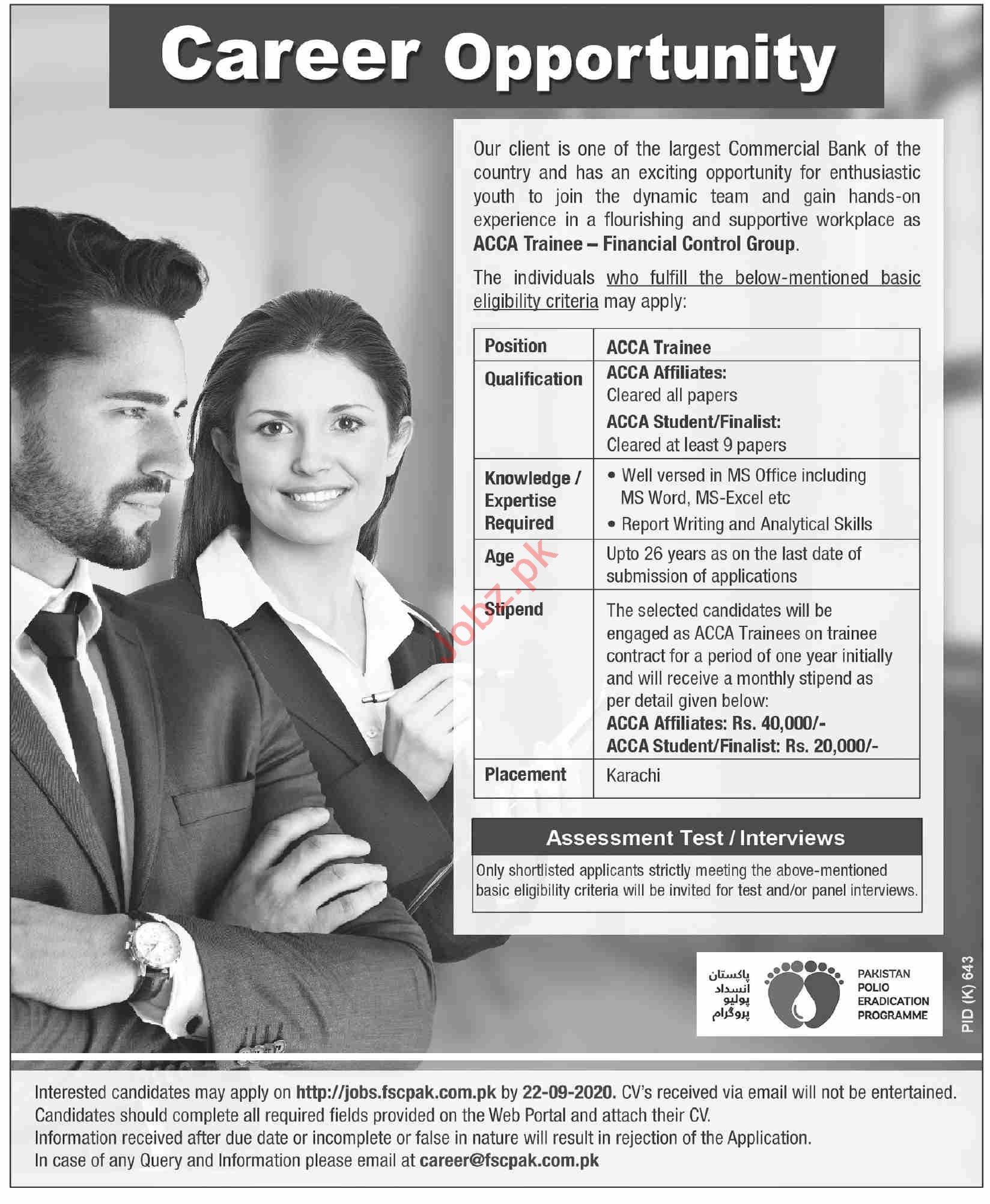 ACCA Trainee & Accountant Jobs 2020 in Karachi