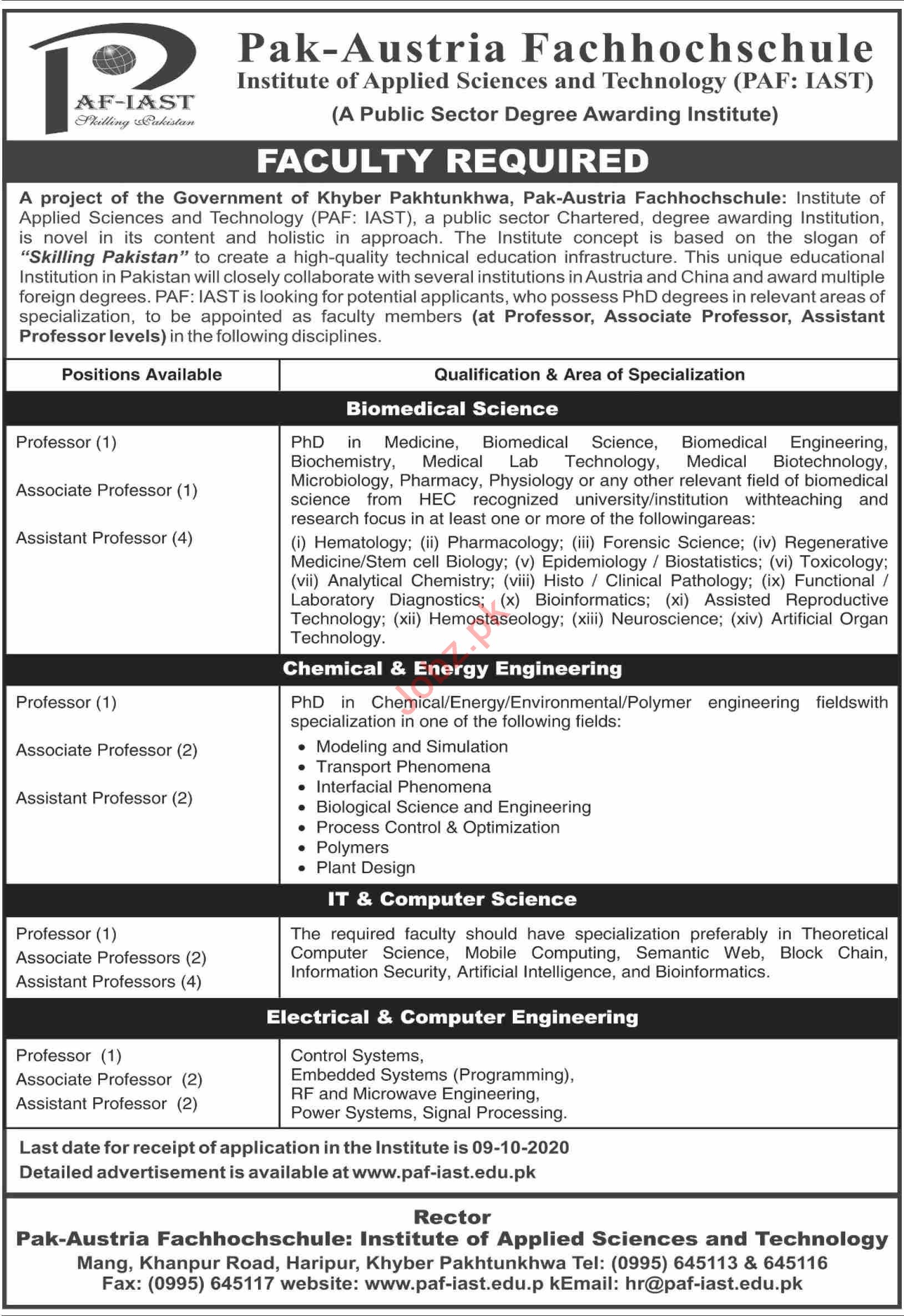 PAF IAST Haripur Jobs 2020 for Professors