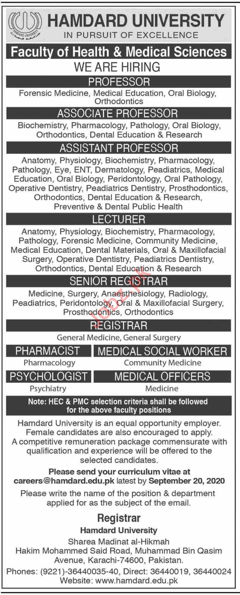 Hamdard University Jobs 2020 for Professor & Registrar