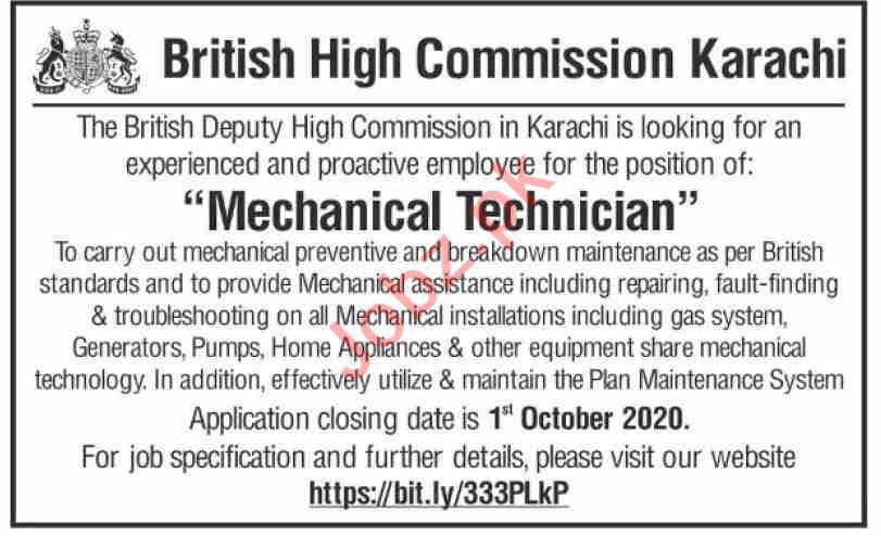 British High Commission Karachi Jobs 2020 for Technician