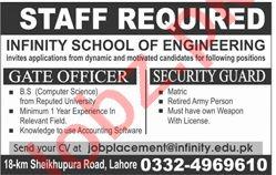 Infinity School of Engineering Lahore Jobs 2020
