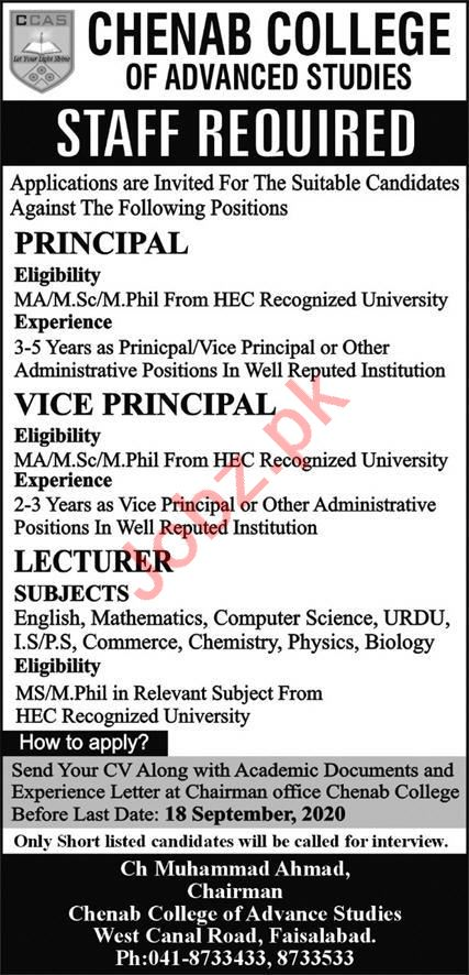 Principal & Lecturer Jobs 2020 in Chenab College