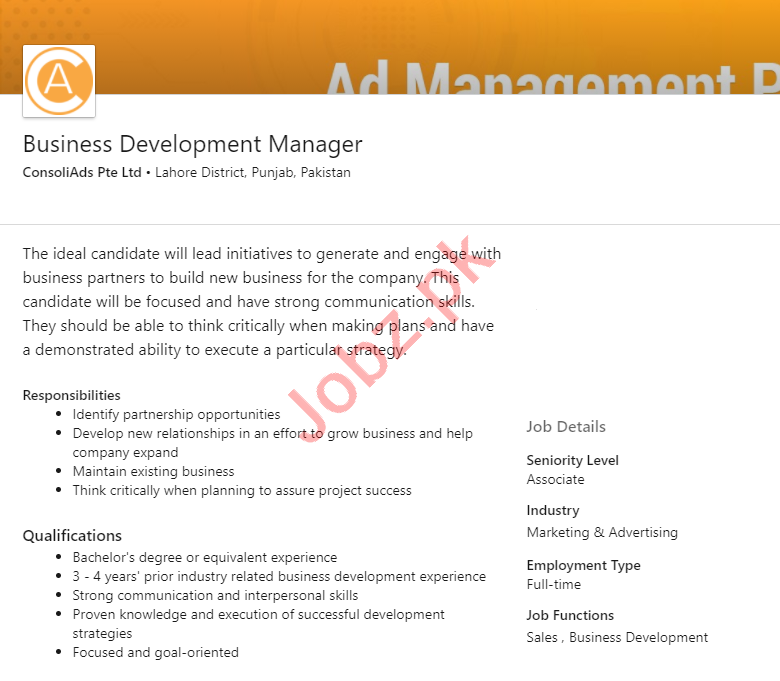 ConsoliAds Lahore Jobs 2020 Business Development Manager