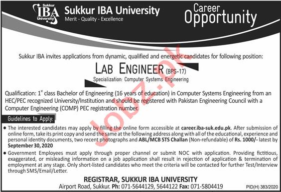 Lab Engineer Jobs 2020 for Sukkur IBA University