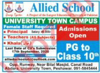 Allied School University Town Campus Peshawar Jobs 2020