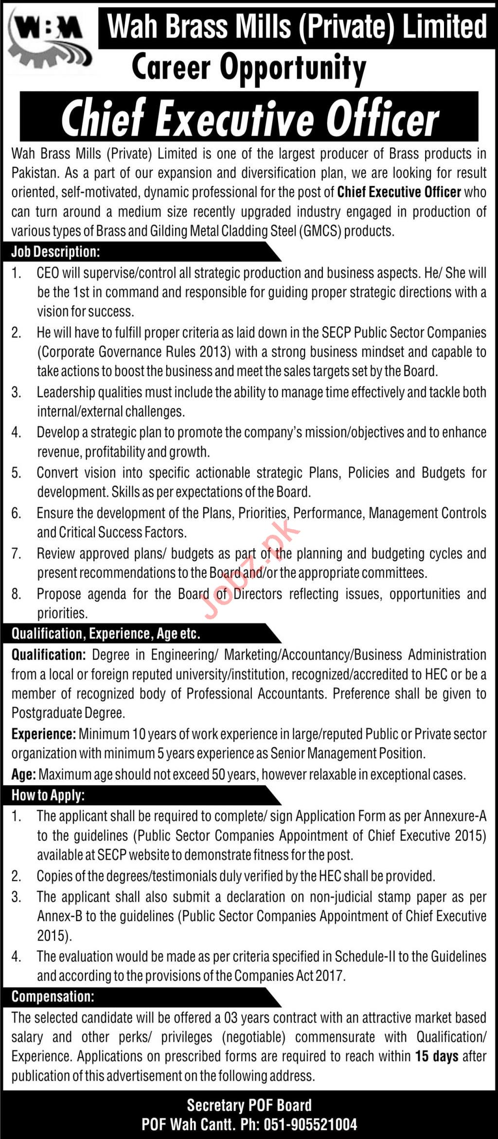 Wah Brass Mills WBM Jobs 2020 for Chief Executive Officer