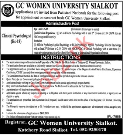 GC Women University Sialkot Jobs 2020 Clinical Psychologist