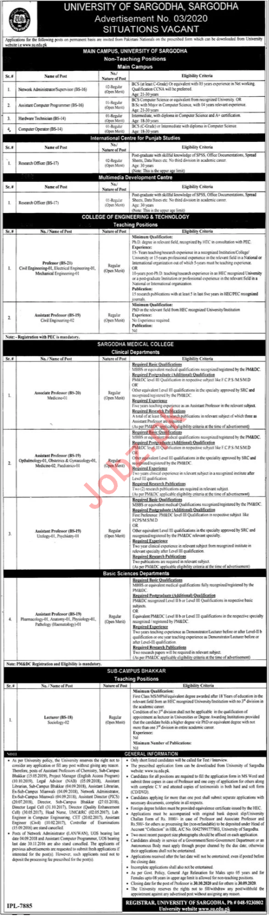 University of Sargodha Teaching & Non Teaching Staff Jobs