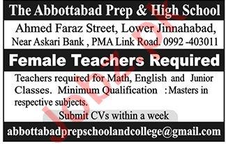 The Abbottabad Prep & High School Jobs for Female Teachers