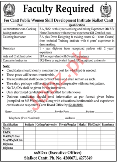 Cantt Public Women Skill Development Institute Sialkot Jobs