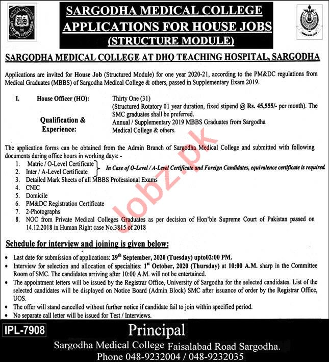 Sargodha Medical College DHQ Hospital Jobs 2020