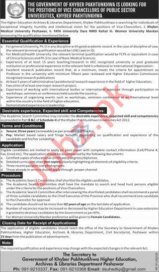 Khyber Medical University & FATA University Jobs 2020