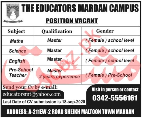 The Educators Mardan Campus Jobs 2020 for Female Teachers
