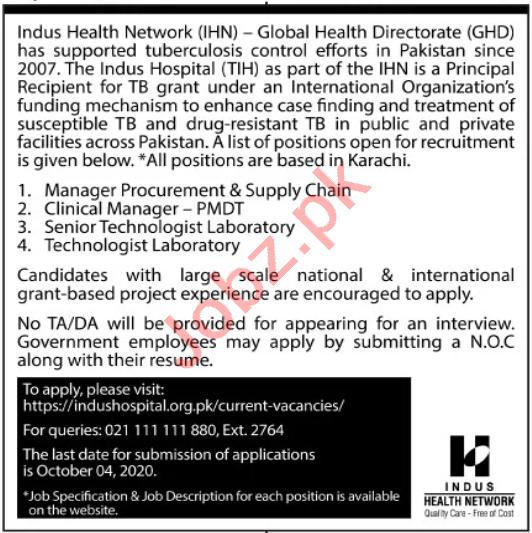 Indus Health Network IHN Jobs 2020 Manager & Technologist