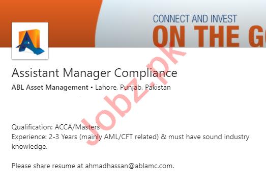 ABL Asset Management Lahore Jobs 2020 Assistant Manager