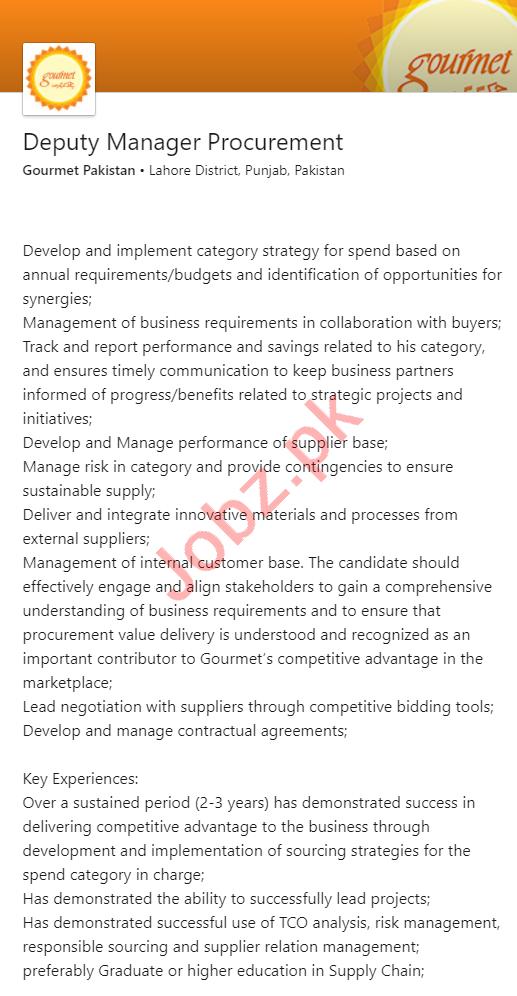 Gourmet Pakistan Jobs for Deputy Manager Procurement