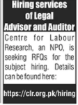 Legal Advisor and Auditor Jobs 2020 in Rawalpindi