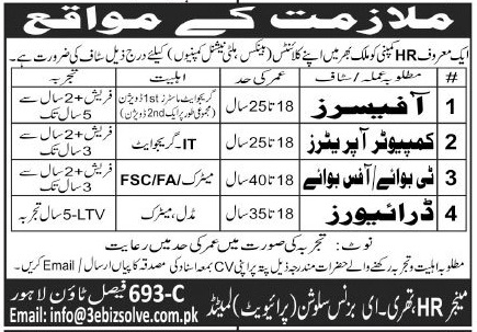3 E Business Solutions Jobs 2020 in Lahore