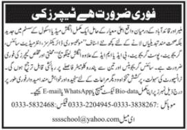Teaching Staff Jobs 2020 For School in Karachi