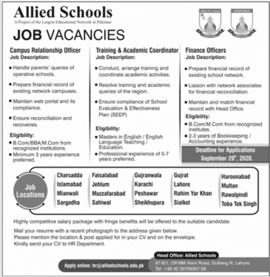 Allied Schools Management Staff Jobs 2020