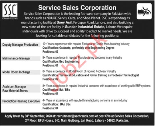 Service Sales Corporation SSC Lahore Jobs 2020