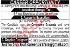 Assistant Manager Tax & Accounts Executive Jobs 2020
