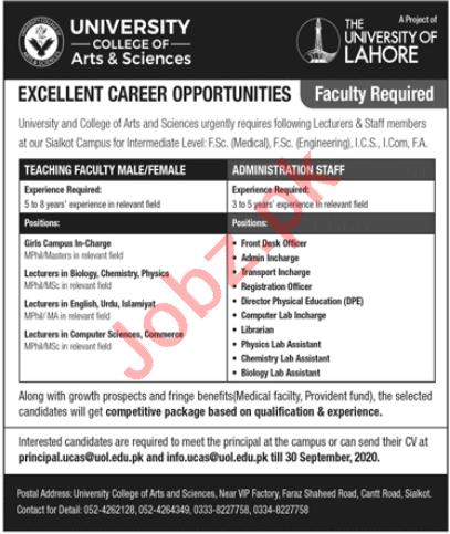 The University of Lahore Jobs 2020 Teaching & Admin Staff