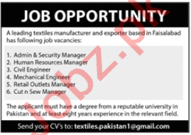 Retail Outlets Manager & Civil Engineer Jobs 2020