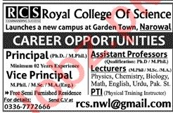 Royal College of Science RCS Narowal Jobs 2020 for Professor