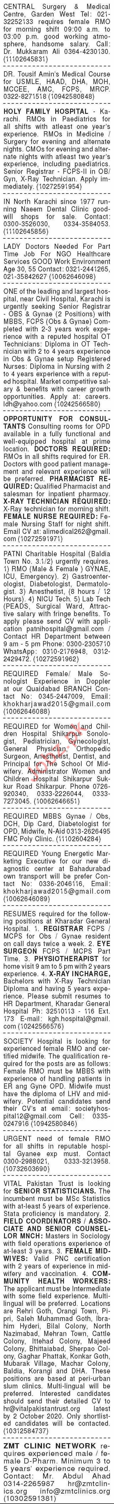 Dawn Sunday Classified Ads 20 Sept 2020 for Medical Staff