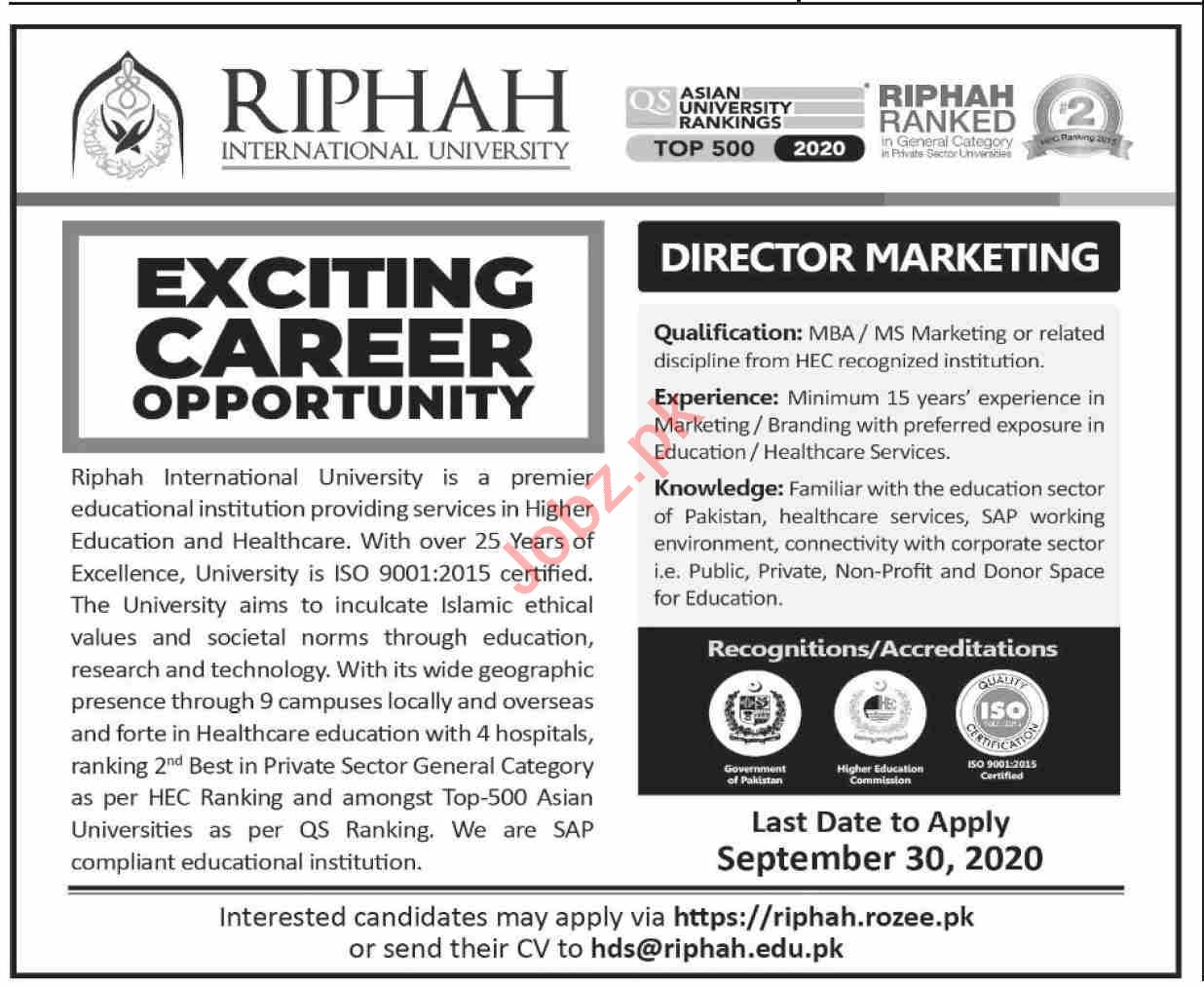 Riphah International University Jobs 2020 for Director
