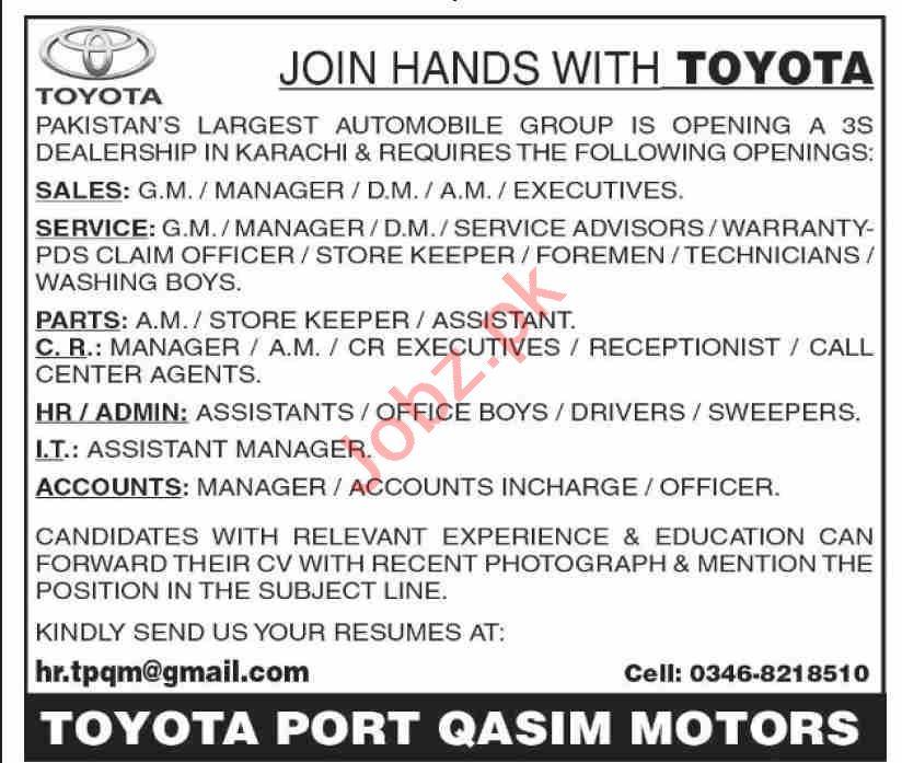 Toyota Port Qasim Motors Jobs 2020 for GM Sales