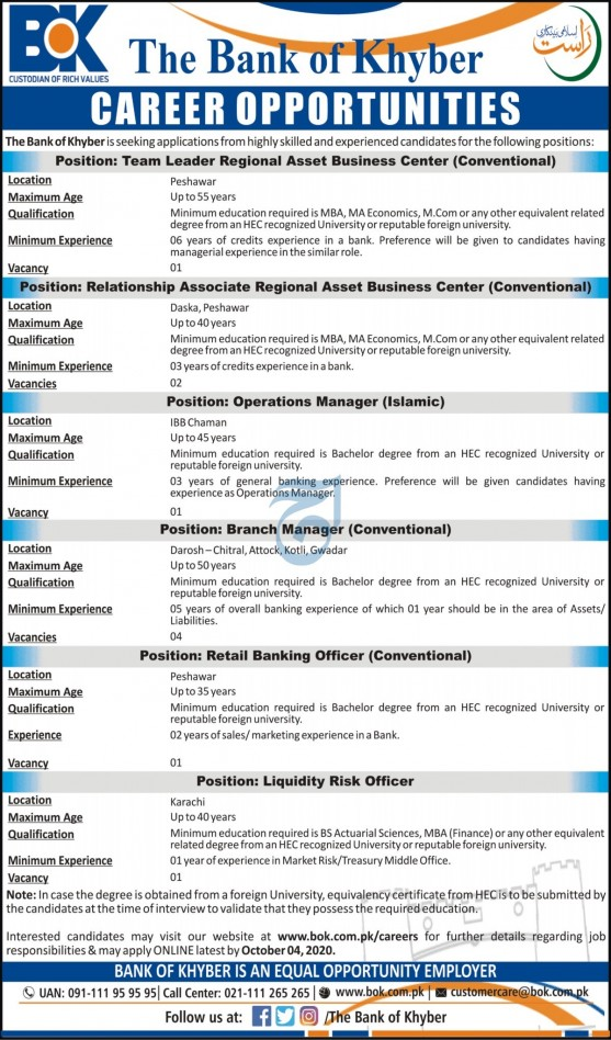 The Bank of Khyber BOK Jobs 2020